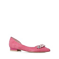 Faith - Bright pink jewel pointed ballet pumps