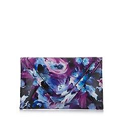 Faith - Purple painted floral flap over clutch bag