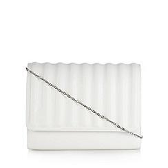 Faith - White ridged clutch bag