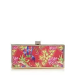 Faith - Bright pink tropical print clutch bag