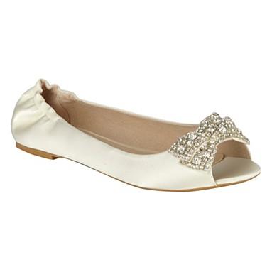 Flat Ivory Wedding Shoes on Ivory B Alive Satin Flat Shoes Flat Shoes