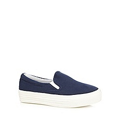 Faith - Navy slip on platform trainers
