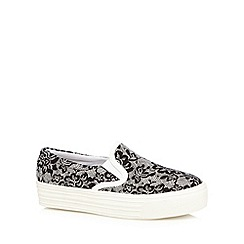 Faith - Black lace print slip on platform trainers