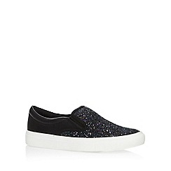 Faith - Black glitter toe slip on shoes