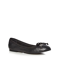 Faith - Black leather bow slip-on shoes