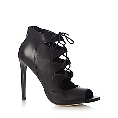 Faith - Black leather lace up high sandals