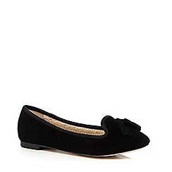 Faith - Black suede tassel slip-on shoes