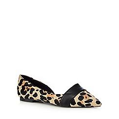 Faith - Tan 'Ace' leopard print slip on shoes