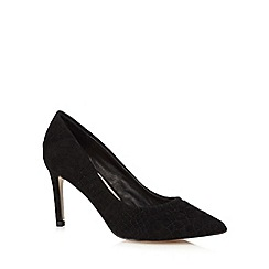Faith - Black quilted snake effect court shoes