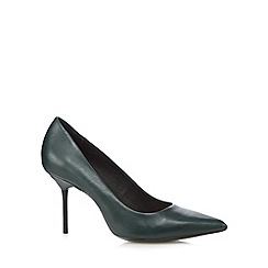 Faith - Dark green leather pointed toe high court shoes