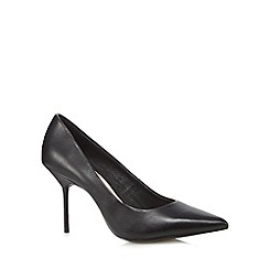 Faith - Black leather pointed toe high court shoes