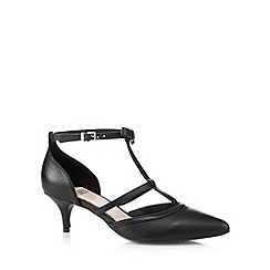 Faith - Black leather t-bar bow court shoes