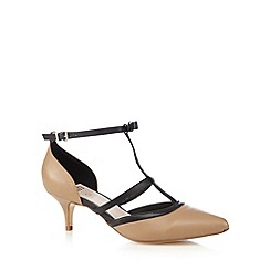 Faith - Camel leather t-bar bow court shoes