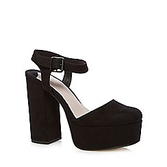 Faith - Black suedette high platform sandals