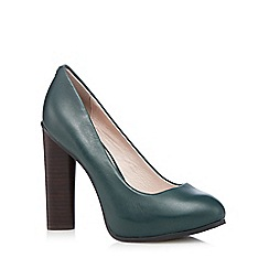 Faith - Dark turquoise leather platform high court shoes