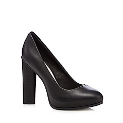 Faith - Black leather platform high court shoes