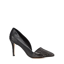 Faith - Black snakeskin-effect pointed court shoes