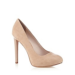 Faith - Natural suedette high platform court shoes