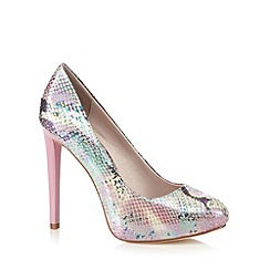 Faith - Pink metallic snakeskin high platform court shoes