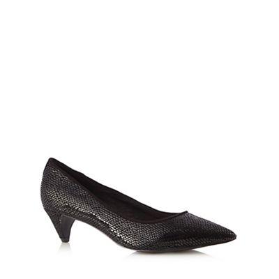 Faith Black leather snakeskin mid court shoes - . -