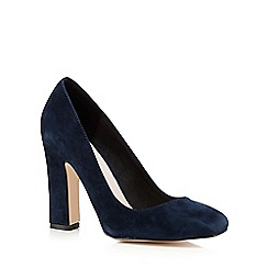 Faith - Navy suede high heeled court shoes