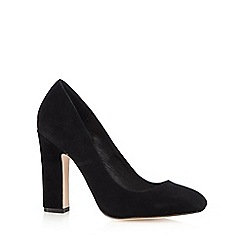 Faith - Black suede high heeled court shoes