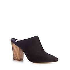 Faith - Black leather high mule court shoes