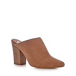 Faith - Beige leather high mule court shoes