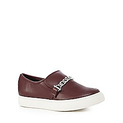 Faith - Dark red chain detail slip-on shoes