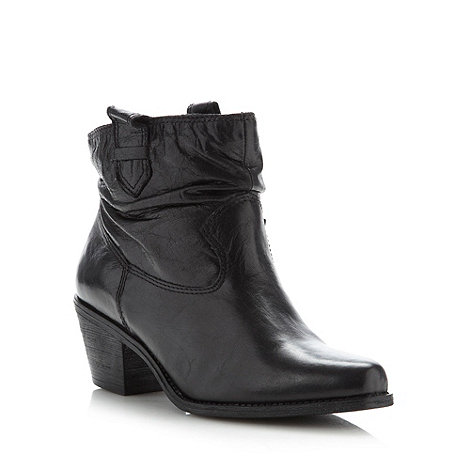Faith - Black leather ankle boots