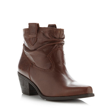 Faith - Tan cowboy style ankle boots