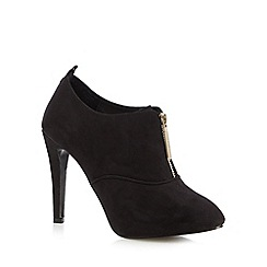 Faith - Black suedette front zip shoe boots