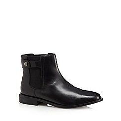 Faith - Black leather popper Chelsea boots