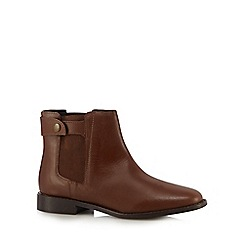 Faith - Tan leather popper Chelsea boots