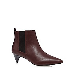 Faith - Maroon leather mid chelsea ankle boots