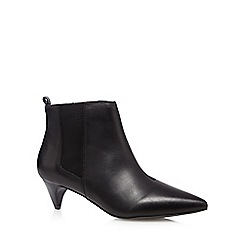 Faith - Black leather mid chelsea ankle boots