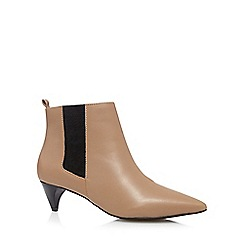 Faith - Light tan leather mid chelsea ankle boots