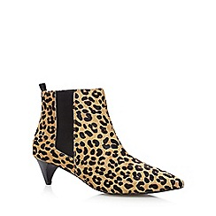 Faith - Tan leather leopard mid chelsea ankle boots