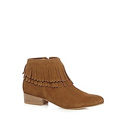 Faith - Tan suede fringed low boots