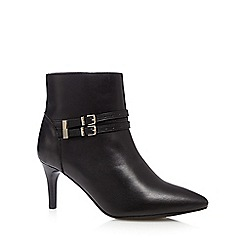 Faith - Black leather double buckle mid ankle boots