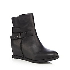 Faith - Black 'Saab' hidden wedge leather boots