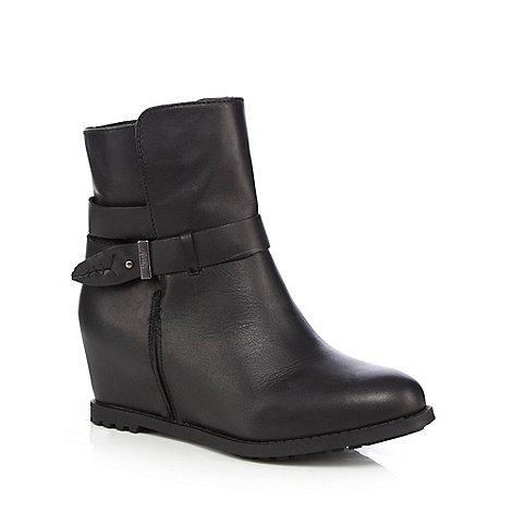 faith black wedge leather boots debenhams