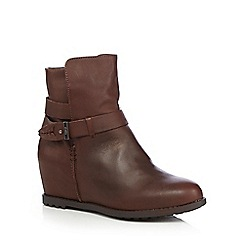 Faith - Dark brown 'Saab' hidden wedge leather boots
