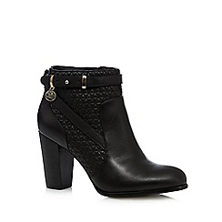 Faith - Black quilted leather high ankle boots
