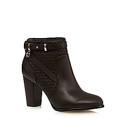 Faith - Chocolate quilted leather high ankle boots