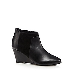 Faith - Black leather wedge heel mid ankle boots