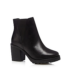 Faith - Black leather high chelsea boots