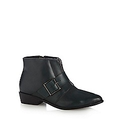 Faith - Dark turquoise leather buckle low ankle boots