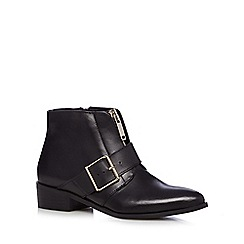 Faith - Black leather zip and buckle ankle boots