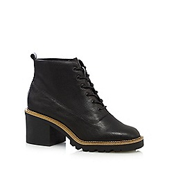 Faith - Black leather lace up mid ankle boots